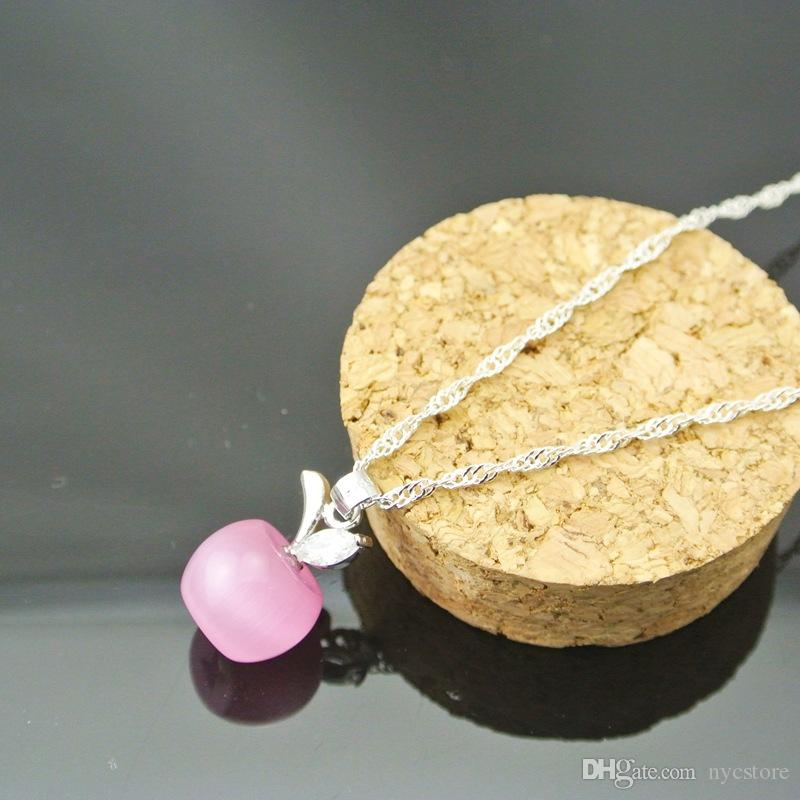 New cute crystal and opal white pink apple pendant necklace for women and girls fashion apple shape jewelry