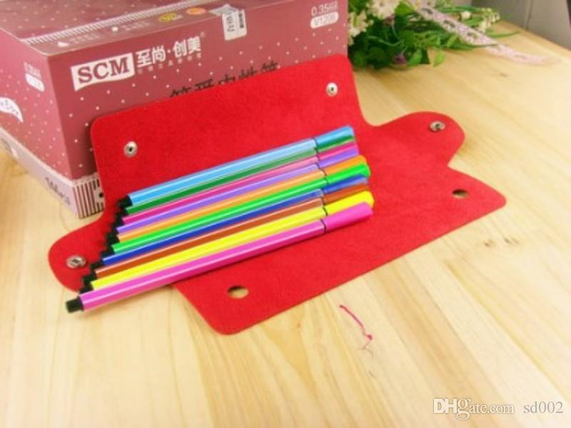 Multi Function Pen Bag Rectangle PU Leather Pencil Bags Foldable Double Buckle Pencils Case High Quality 1 5hb B