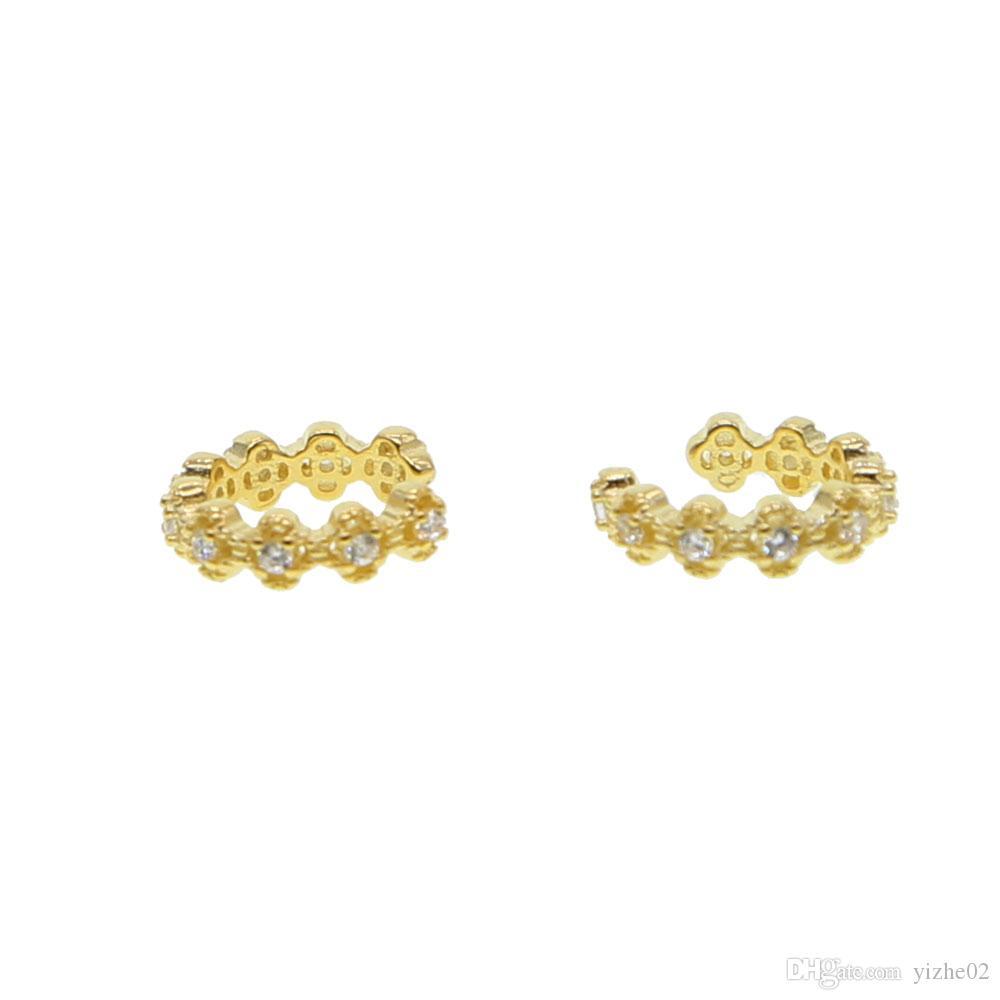 2018 neues design 100% 925 sterling silber Gold Farbe Blume Ohrclip Ohrringe mit Piercing Ohrstulpe Ohrclips für Frauen Mädchen Schmuck