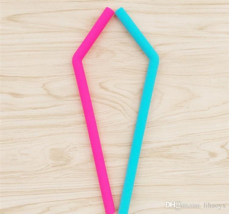 24cm lenght bend straw Food grade silicone gel Drinking straw for christmas Milkshakes Bar Drinks straw c256