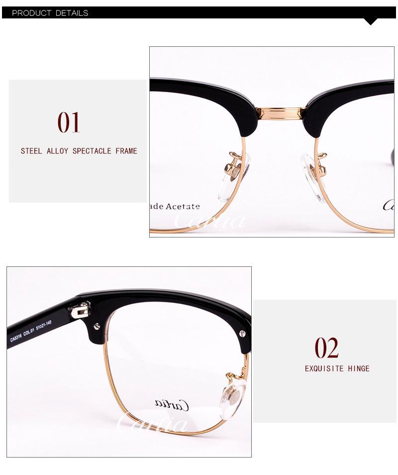 NEW brand black&gold mens semi rimless eyeglasses frames Carfia 5316 metal half frame clear lens glasses optical