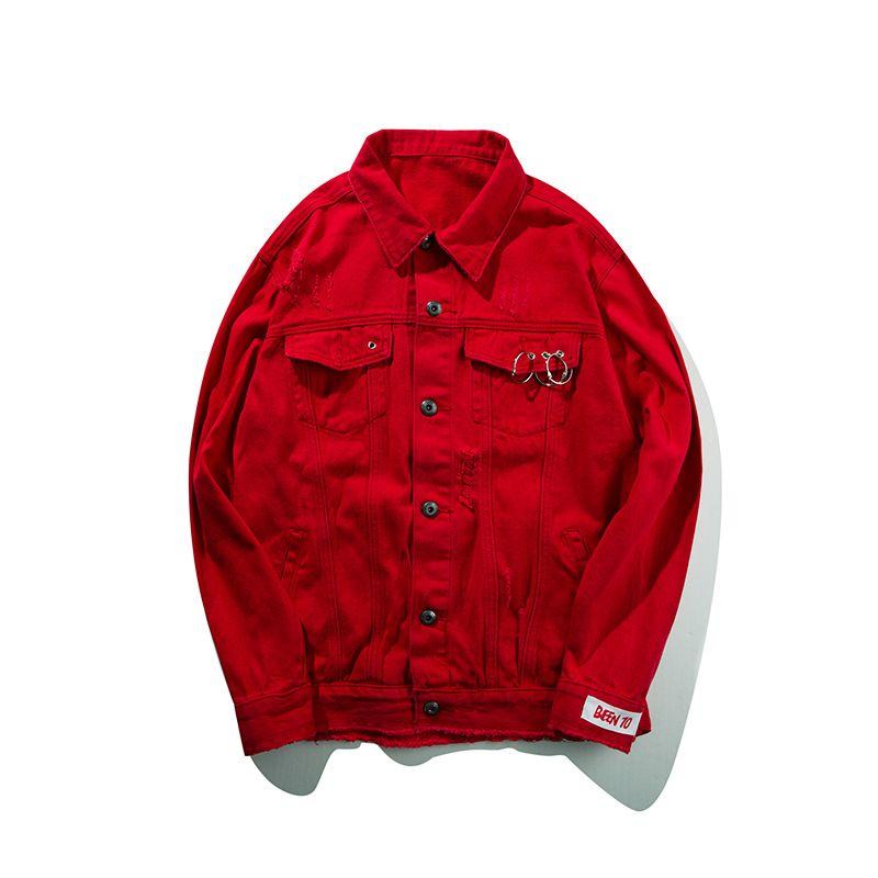 Mens Red Jean Jacket Patchwork Ripped Men Women Denim Jackets Gothic