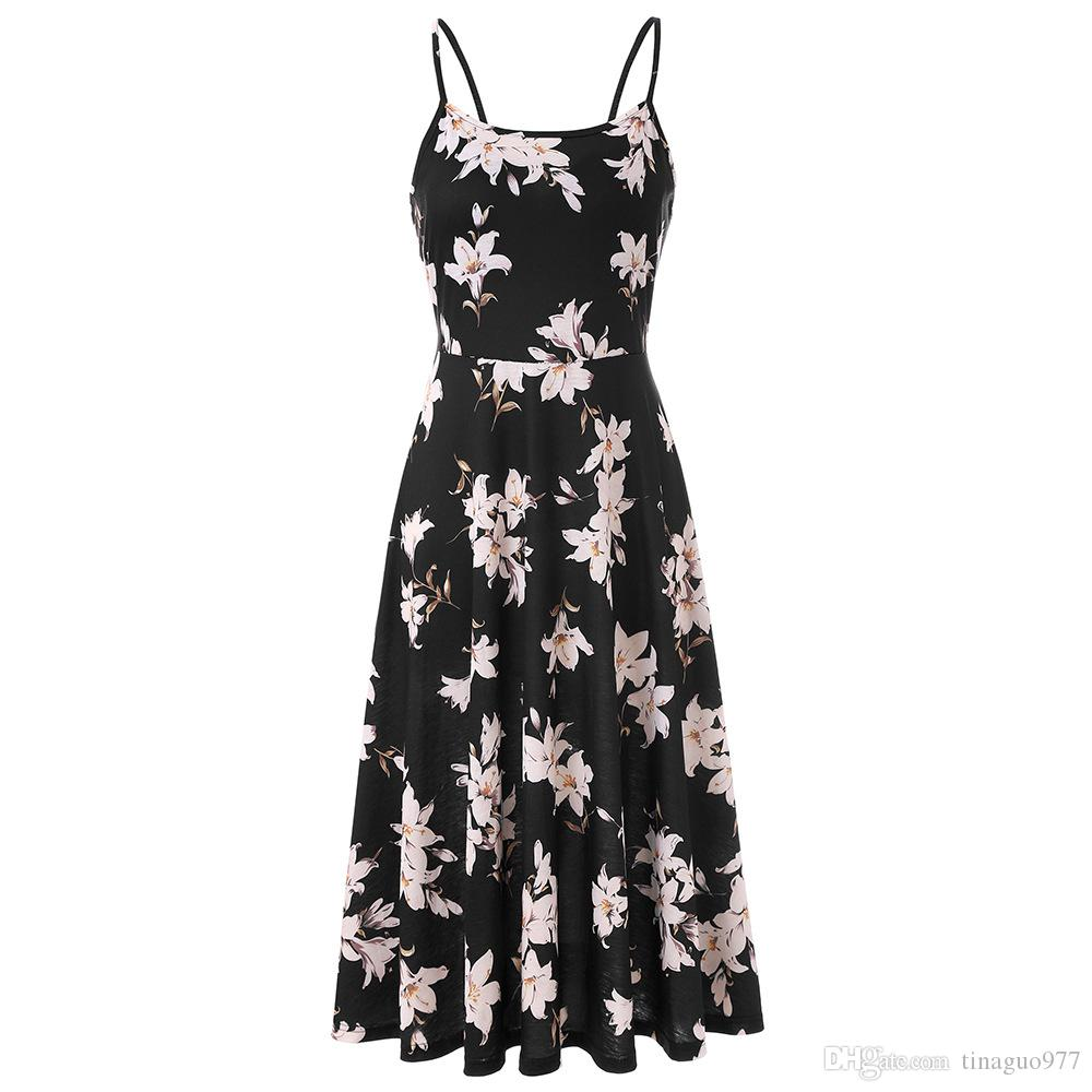 0a66559522cb Floral Print Summer Dresses For Women Vintage Tea Length Dresses Casual  Spaghetti Strap Swing Midi Dress Dresses Women Cocktail Party Dresses From  ...