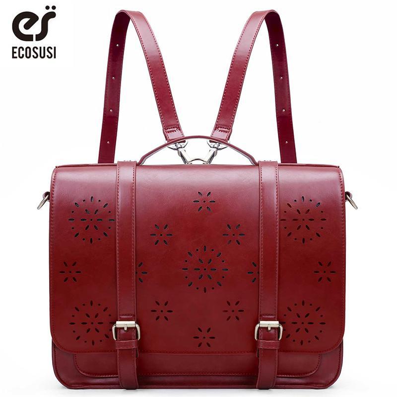 0d21634aa5 ECOSUSI New Women PU Leather Handbag Retro Women Messenger Bags Famous  Designer Leather Shoulder Bag Laptop School Bag Laptop Messenger Bags Purses  On Sale ...