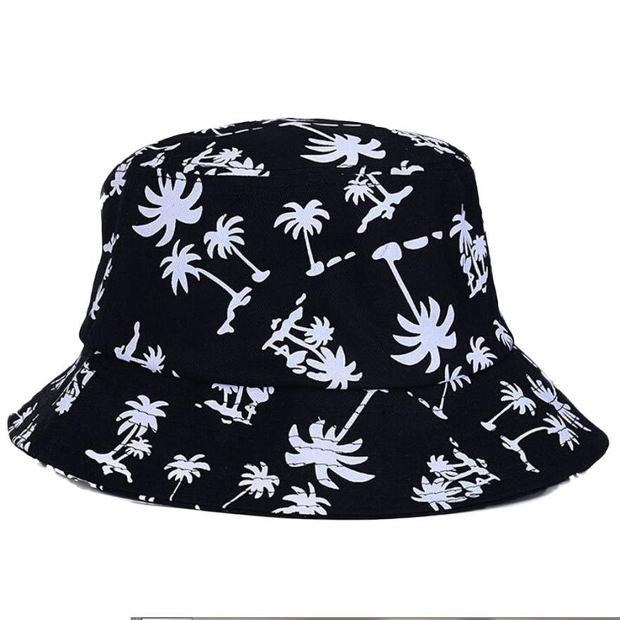 women Sunscreen fish hat large brimmed hat Canvas boy girl hats Graffiti Flat Bucket Coconut Tree Pattern 56-58cm 4 colorus