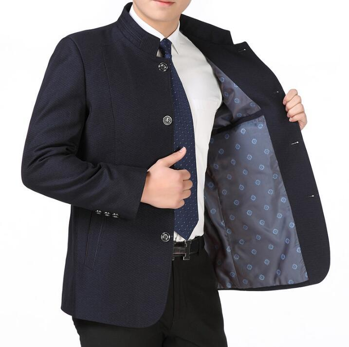 Chinese style tunic suit male spring and autumn men suit stand collar commercial jacket mens slim fit blazer ternos masculino