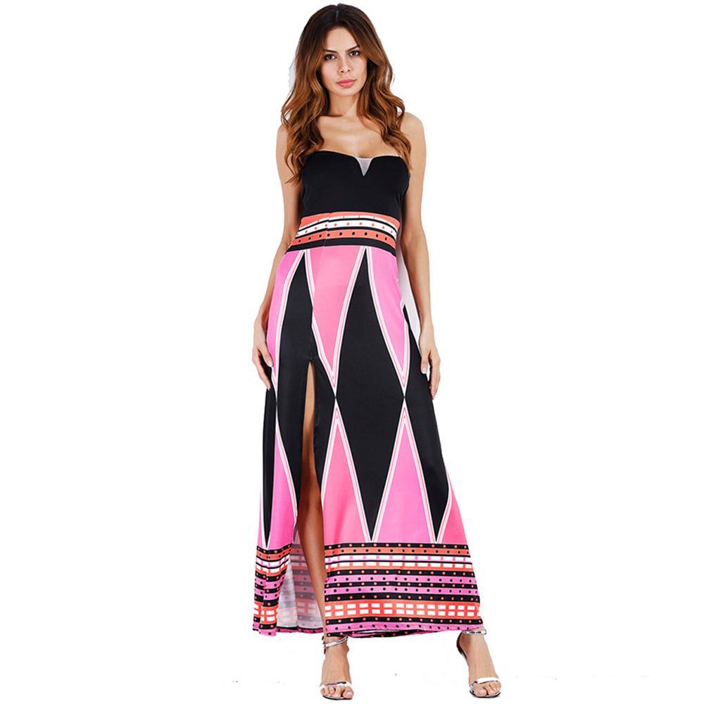 58ddeabd3bc59 robe de plage femme élégante impression géométrique taille plus robe sexy  split été longue bustier vintage rouge bleu soirée maxi