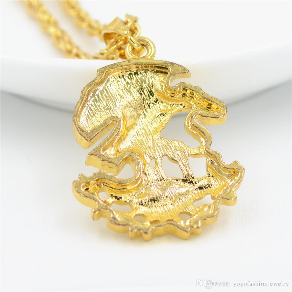 Uodesign Hip Hop Iced Out Bling Eagle Eat Snake Pendenti Collane Collana color oro gioielli da uomo