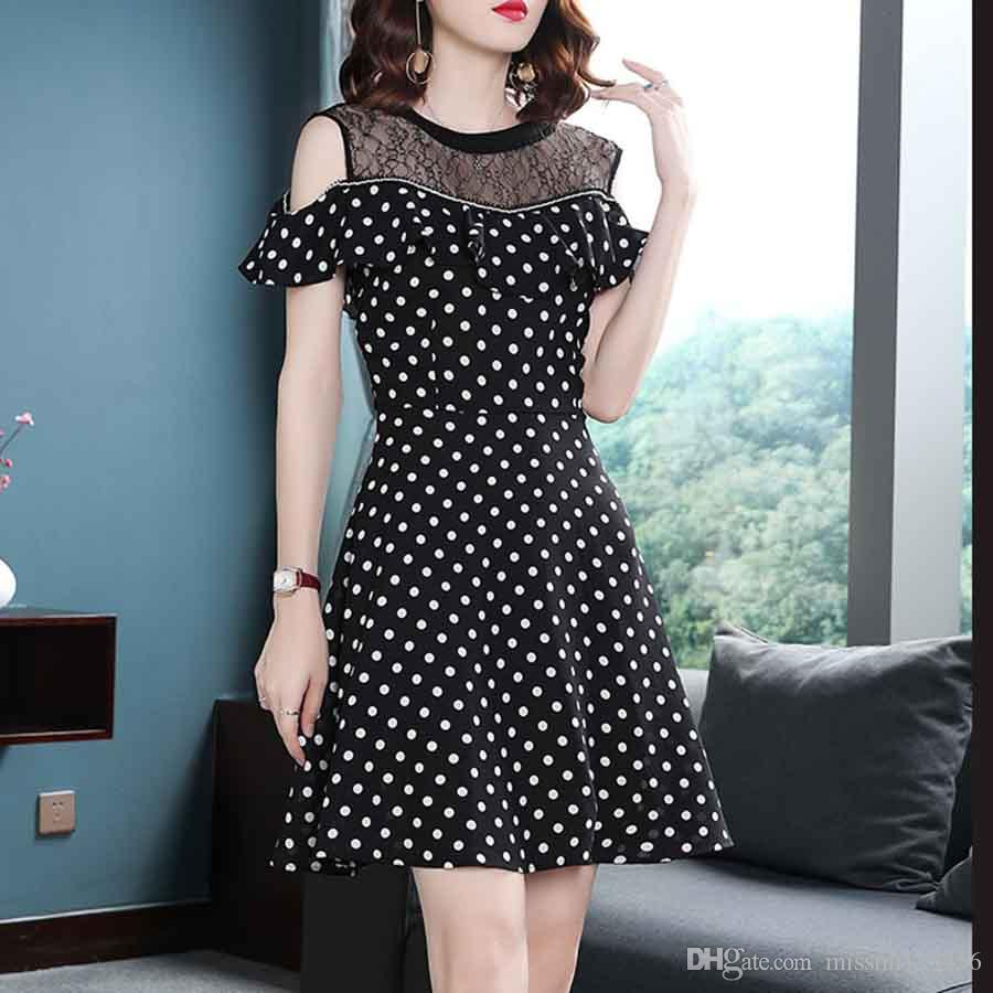 95714201d338 2019 Summer Women Dress Black White Polka Dot Prom Dress Sexy Lace ...