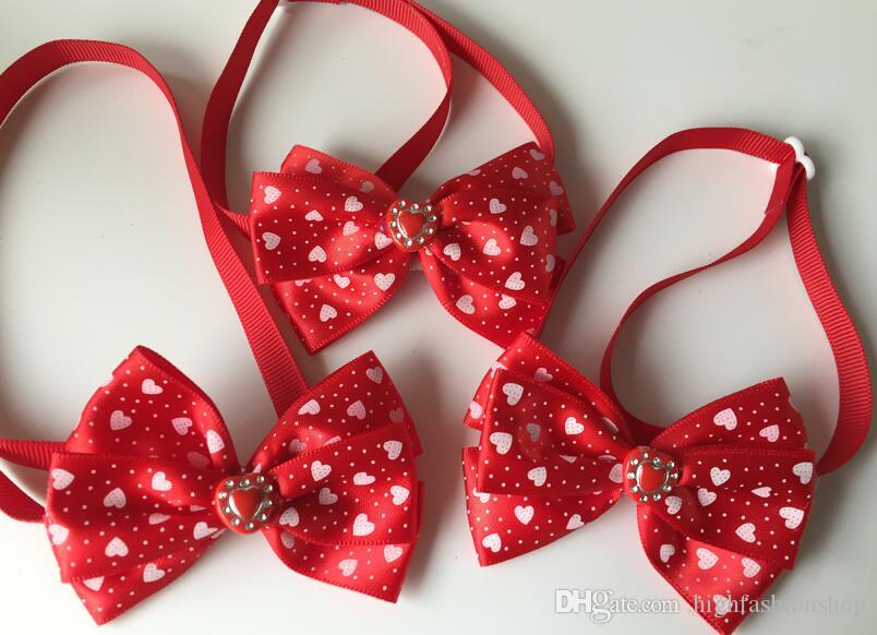 Big sale Girl Pet Dog puppy Cat red love heart Bow Ties Neckties Bowknot Valentine Lover Grooming Product L02