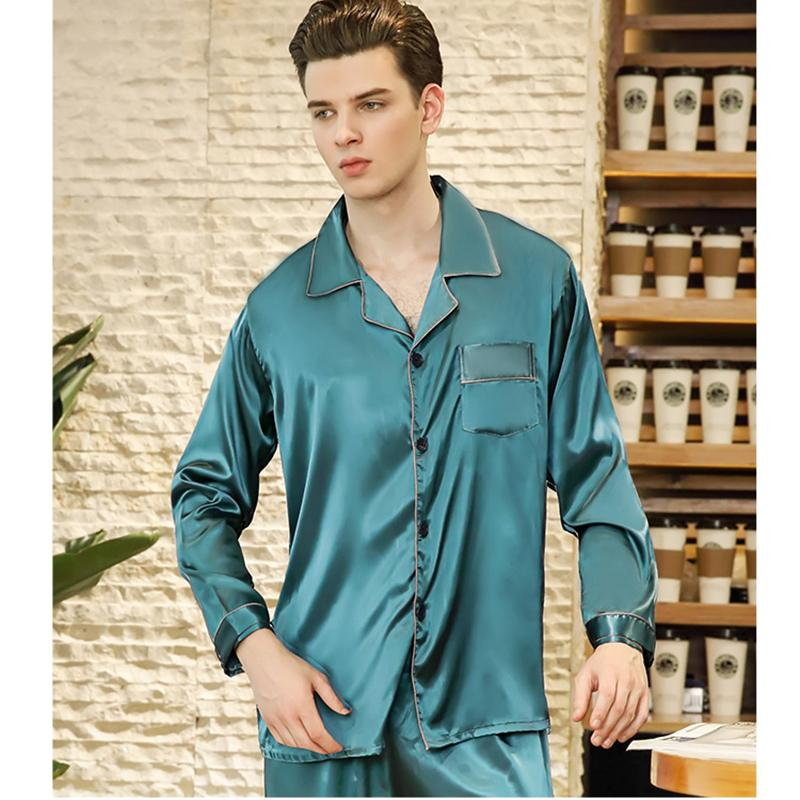 d29f27e718a4 New Men Satin Silk Pyjamas Set Long Sleeve Sleepwear Male Leisure ...