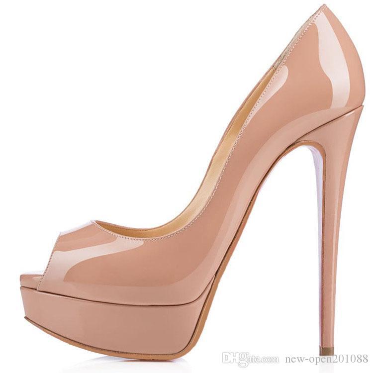2018 Moda 14 cm Mujeres del talón Desnudo cuero de patente Peep-toes de los pies de los tacones altos, Desiger Platform Shallow Mouth Women039; s Zapatos de vestir