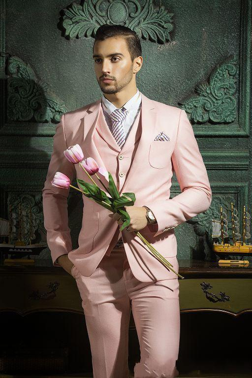 f69088220 Compre Pink Prom Party Men Suits Por Encargo