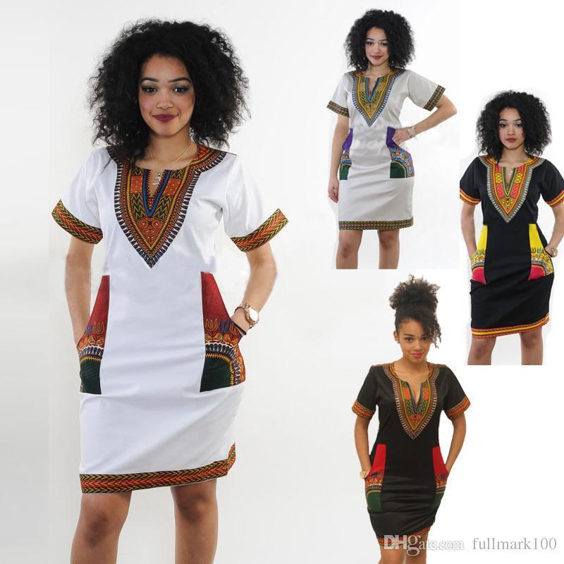 66c0ba8994c Acheter Robes Africaines Pour Les Femmes Indienne Imprimer Plus La Taille  Dashiki Vêtements Robe Femme Boho Dashiki Tissu Été Sexy Hippie De  16.09  Du ...