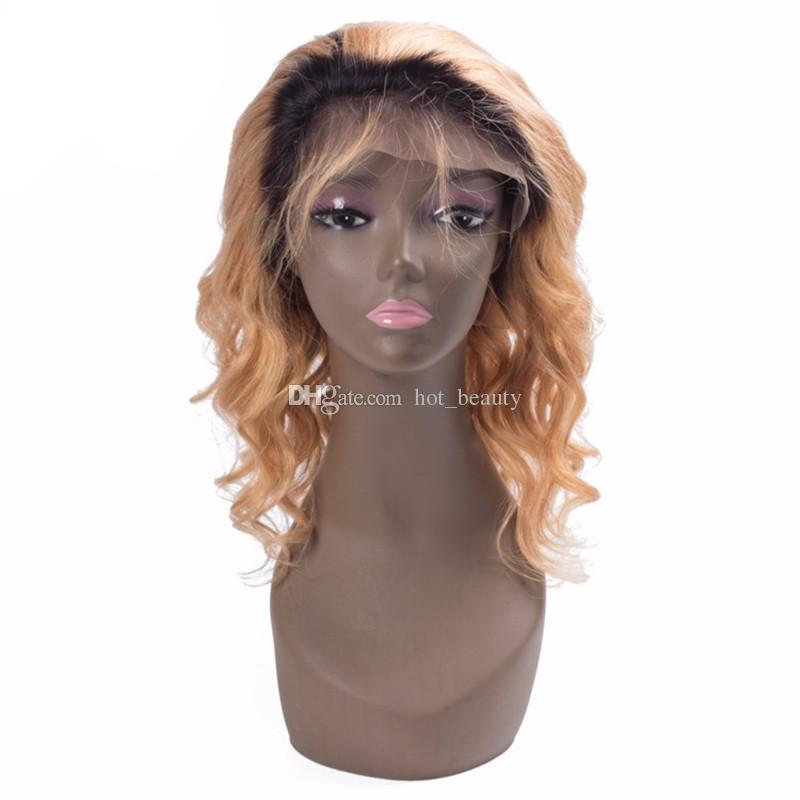 New Arrive Honey Blonde Ombre Full Lace Wig Two Tone 1b 27 Honey Blonde Body Wave Front Lace Wig For Sale