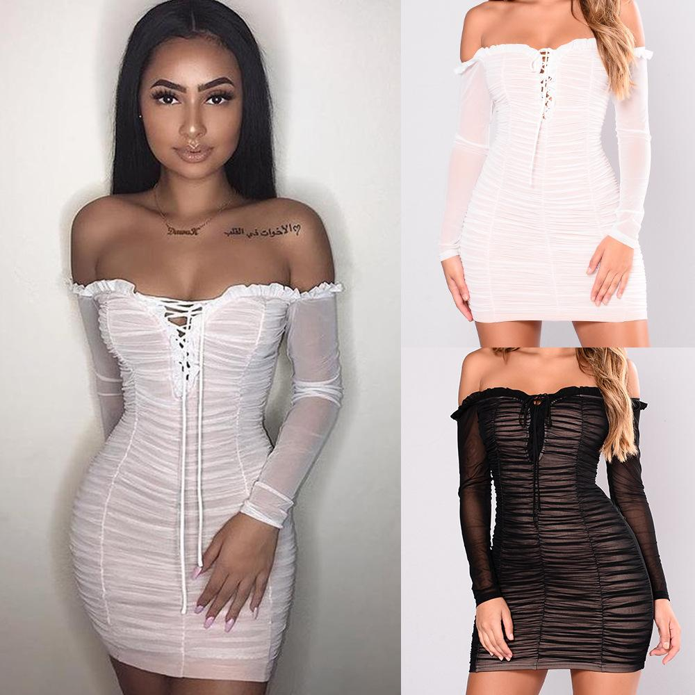 9f863921b1 2019 Sexy Chiffon Pleated Nightclub Dresses Women Solid Off Shoulder Long  Sleeve Lace Up Ruffle Low Cut Wrap Mini Cocktail Party Club Dress From  Hengytrade, ...