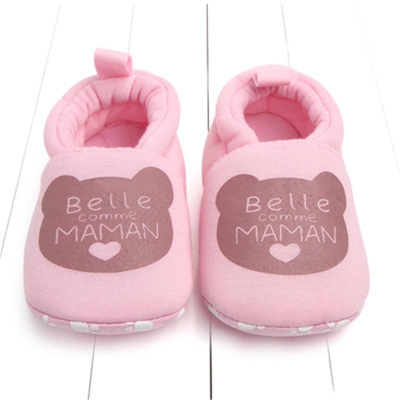 607d432ddda22 Acheter Belle Coton Bébé Nouveau Né Chaussures Bébé Mignon Bébé Filles  Garçons Premiers Marcheurs Papa Maman Chaussures Souple Bébé Bambin Pour 0  18m De ...
