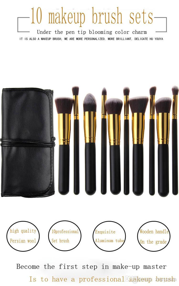 zouyesan 2019 10 Black Gold Black and Silver Makeup Brushes Portable Case with Bag Beauty Set