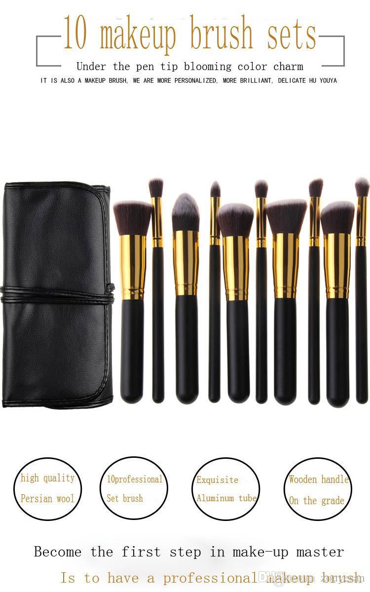 zouyesan Envío Gratis 2019 10 Negro Oro Negro y plata Pinceles de maquillaje Estuche portátil con bolsa de belleza Set