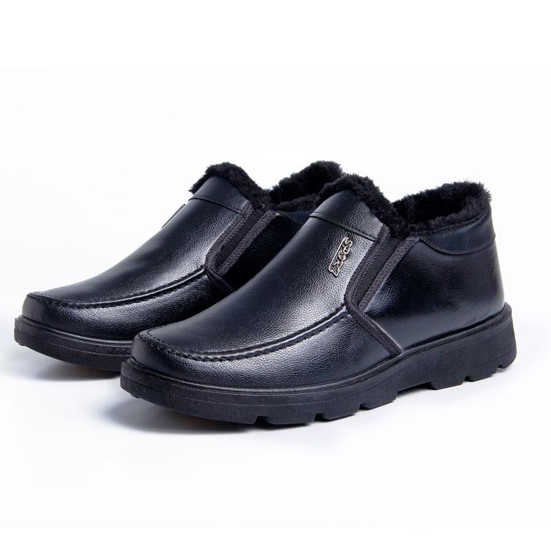 Chaud Hommes Bottes En Cuir Mâles Bottes Fourrure Noir Marron Hiver Chaussures De Travail Homme Sécurité Cheville Hommes Martens Papa Chaussures