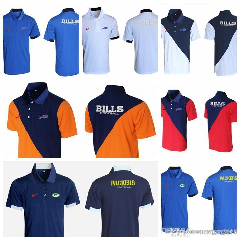 meet 11020 83d62 Jerseys Men s New Rugby T-shirt Green Bay Packers Browns Steelers Buffalo  Bills Minnesota Vikings Evergreen Polo Various styles and col