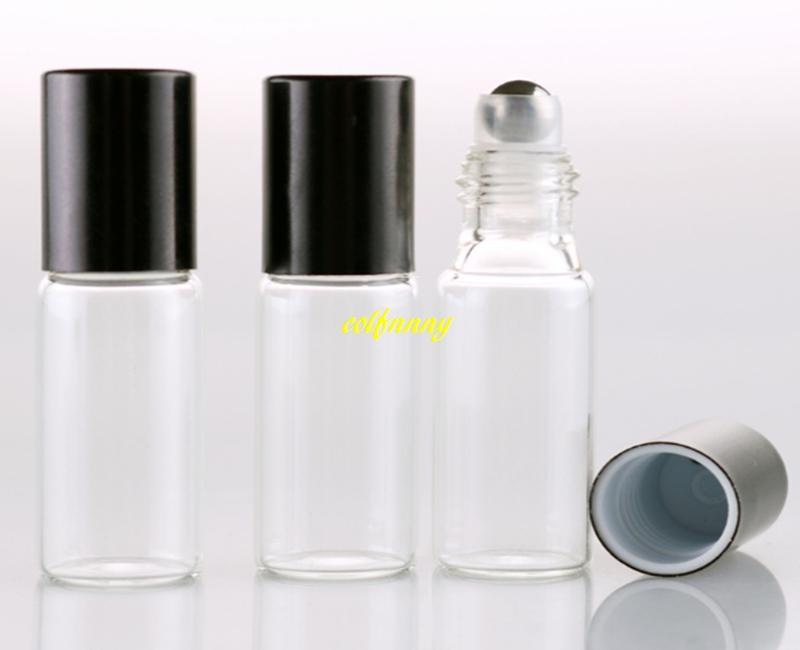 200 unids / lote 17x57mm 5 ml Cristal Claro Aceite Esencial Botellas de Rodillo Rollos de Bolas de Metal Perfumes Rollo de Vidrio En Botella