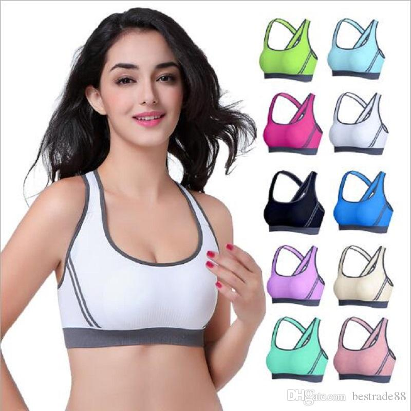 e9e19f2332b 2019 Pink Colorful Women Sports Bra Padded Wirefree Shake Proof Shockproof  Running Gym Zipper Push Up Top Bras Seamless Fitness From Bestrade88
