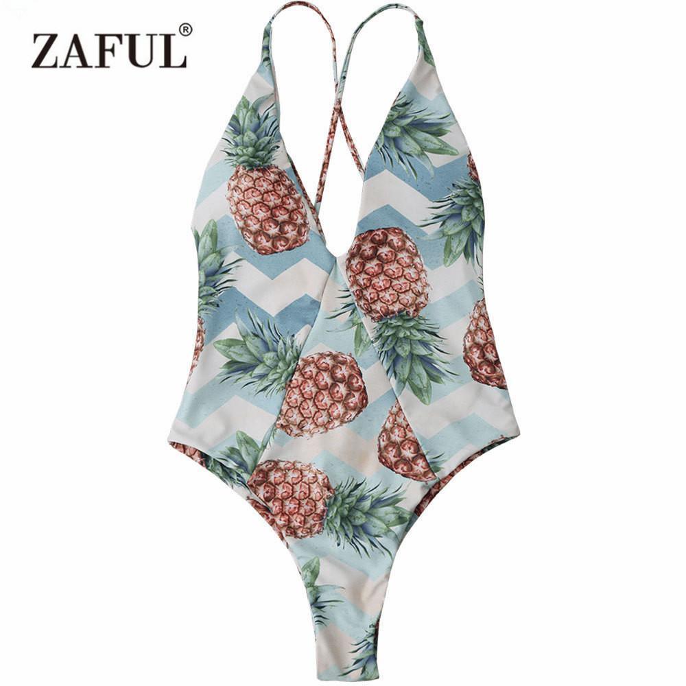 rivenditore di vendita a27d0 e9b79 Costume da bagno estivo in stile tropicale con taglio incrociato con taglio  incrociato a forma di ananas. Costume da bagno con stampa ananas
