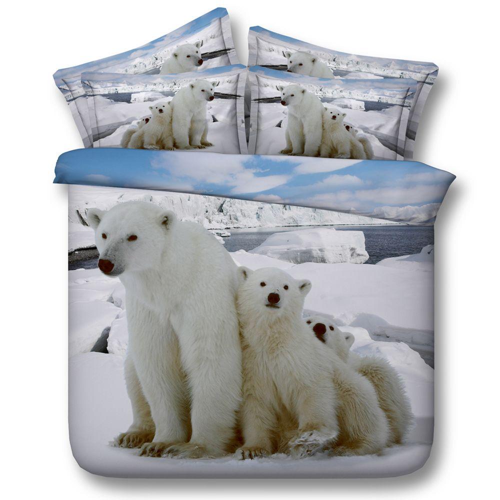 Grosshandel 3d Weiss Polar Bar Bettwasche Sets Tier Bettbezug Silber