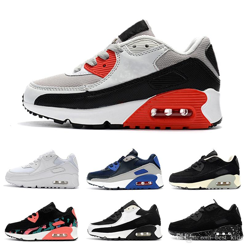 los angeles 68e7d e959c Großhandel Nike Air Max 90 2018 Infant Baby Boy Mädchen Kinder Jugend Kinder  Schuhe Laufen Sportschuhe Pirate Black Classic 90 Turnschuhe Eur 28 35 Von  ...