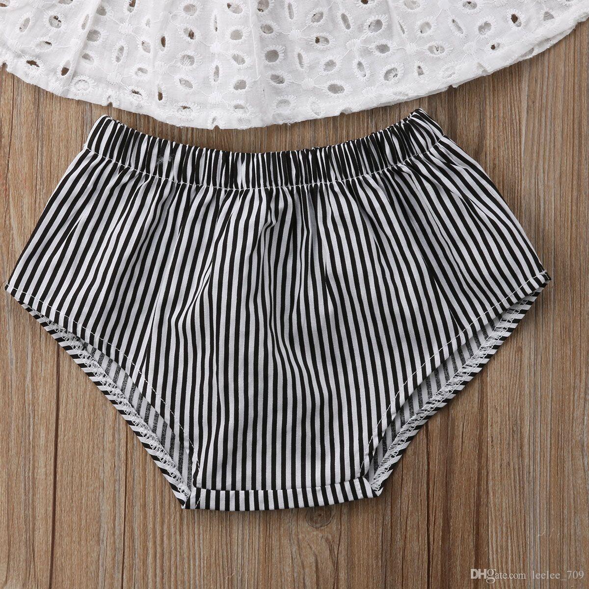 2018 INS bébé fille enfant en bas âge mis tenues dentelle Dentelle Creux Off épaule Débardeurs Chemises Veste + Shorts Pantalon Bloomers avec Bandeau Arc