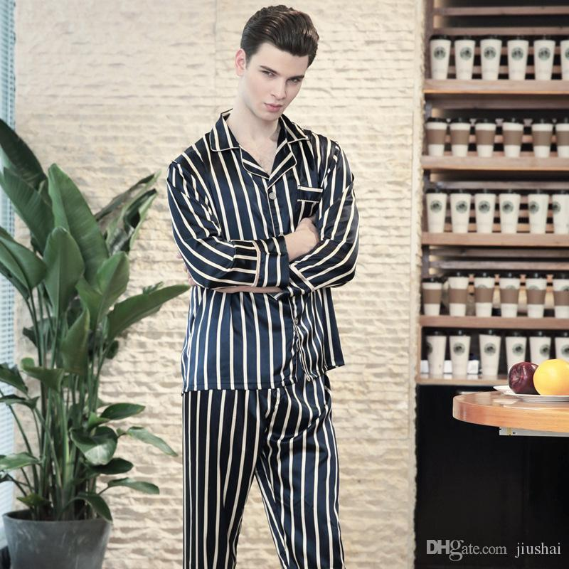 fe525c96c4855 PS0142 Satin Silk Pyjama 2018 New Brand Men Pajamas Spring Autumn ...