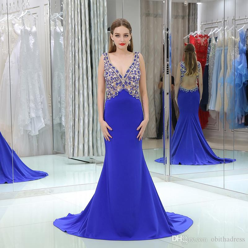 2018 Evening Dresses Royal Blue V Neck Beaded Crystal Sexy Halter