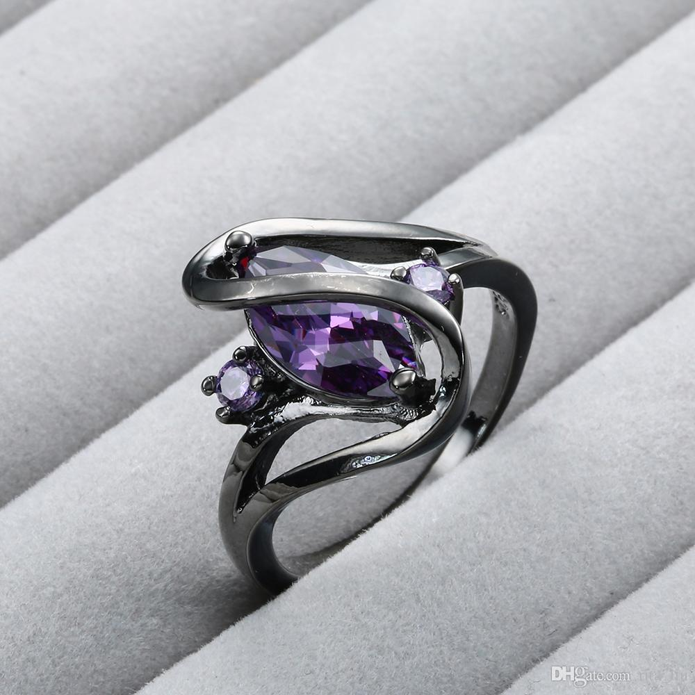 Trendy Black Color Band Rings For Women Vintage Oval Purple CZ Cubic Zirconia Rhinestone Finger Party Rings Femme Wholesale Factory Price