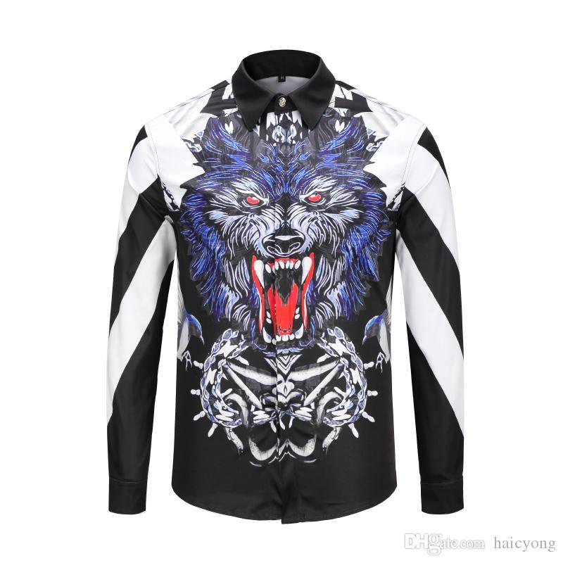 174125453d1c Dress Shirts 3D Print Wolf Shirts Men Long Sleeve Hip Hop Tops ...