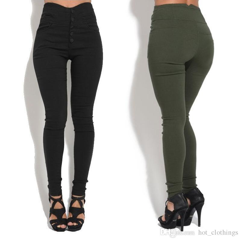 de93d6a5a4 2019 Button Women High Waist Fitness Stretch Pants Trousers Solid Black Army  Green Brown Long Pants Slim Pencil Pants Plus Size From Hot_clothings, ...