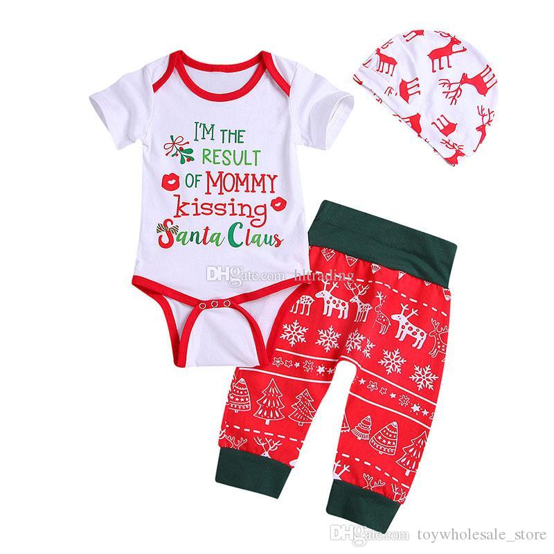bf31cce86 2019 Baby Xmas Letter Outfits Children Girls Boys Christmas Deer Print Hat+ Romper+Pants Spring Autumn Kids Clothing Sets C5472 From  Toywholesale_store, ...