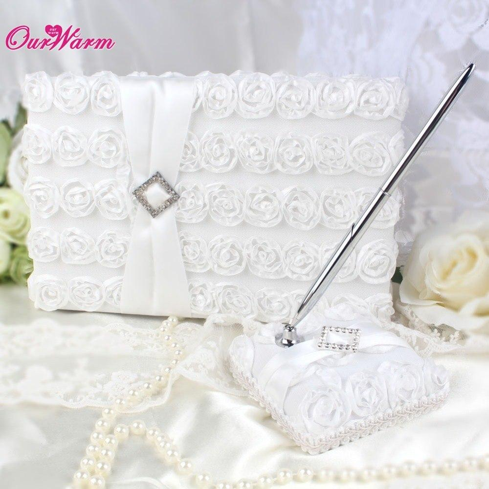 Wedding Decoration Sets Satin Fabric White Rose Wedding Guest Book