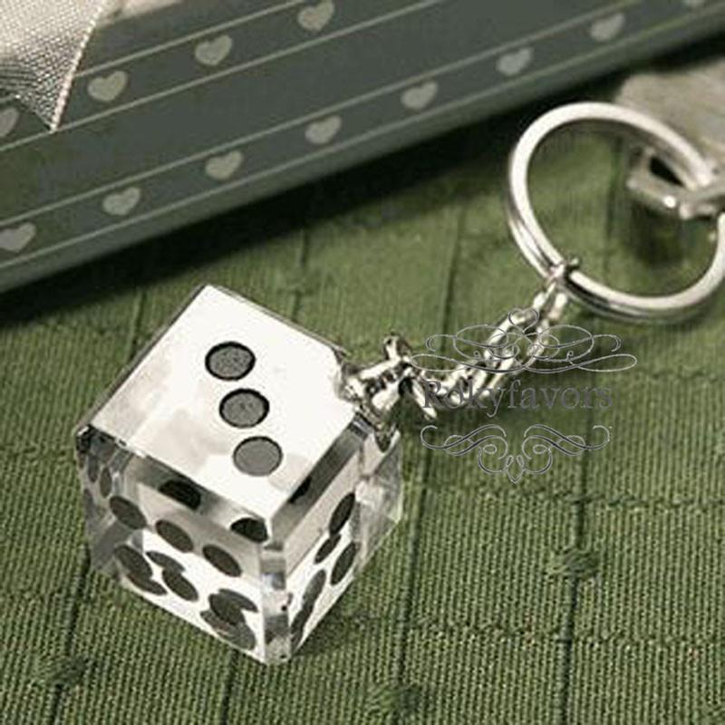 Las Vegas Themed Crystal Dice Keychain Wedding Favors Bridal Shower