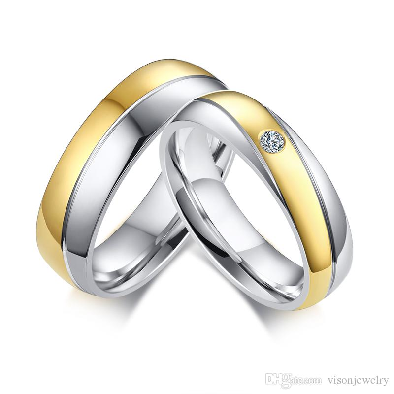 Free Custom Name Engraving Two Tone Silver Gold Promise Rings For Couples in Stainless Steel Personalized Wedding Jewelry