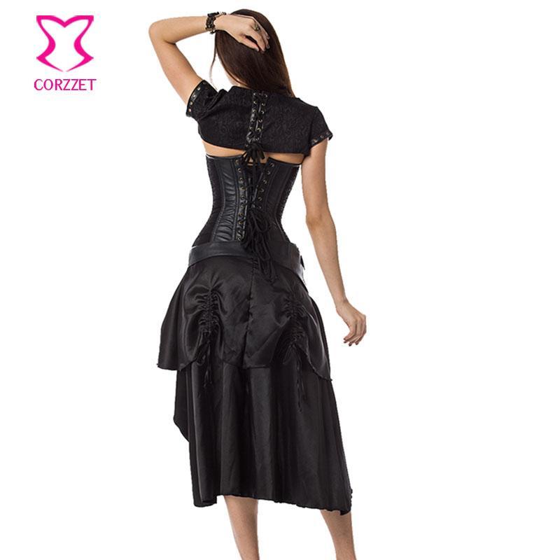 코르셋 고품질 블랙 스틸 본드 Steampunk Overbust 코르셋 + 자켓 + 복장 허리 트레이너 플러스 사이즈 고딕 코르셋 세트