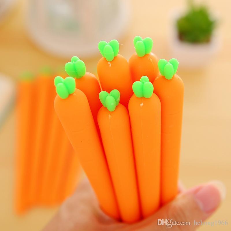 Súper lindo mini zanahoria diseño de la forma del gel bolígrafos colorido novedad divertido pluma para estudiantes de oficina uso 0 51kx Z