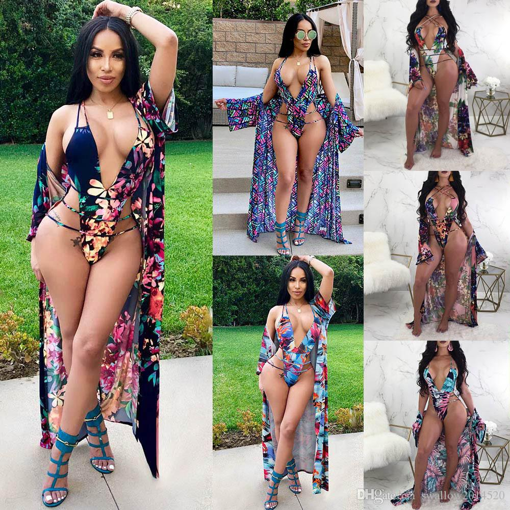 2018 newest swimwear for women one piece bandage bathing suits swimsuit + Women plus size cover up shrug dress beach set