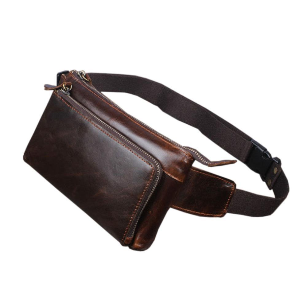 2017 Men Oil Wax Genuine Leather Cowhide Vintage Travel Cell /Mobile Phone Hip Bum Belt Pouch Fanny Pack Waist Purse Bag