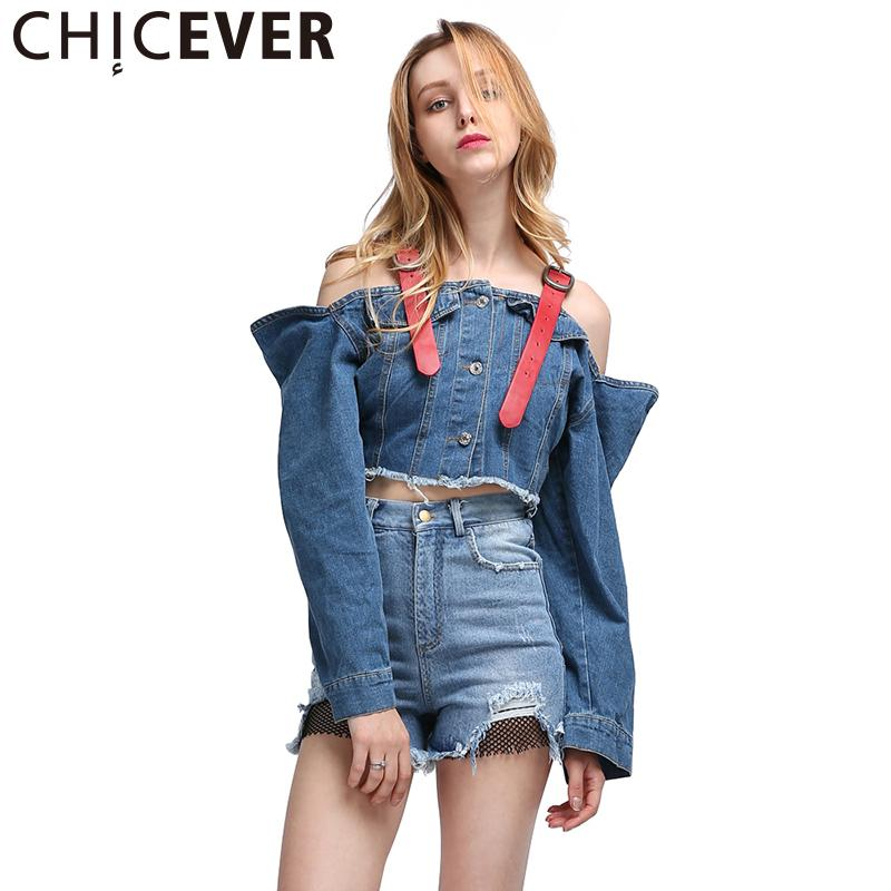 CHICEVER Sexy Épaule Jean Jacket Denim Vestes pour Femmes Manteau À Manches Longues Bretelles Crop Top Coréen Grand Grande Taille Autum