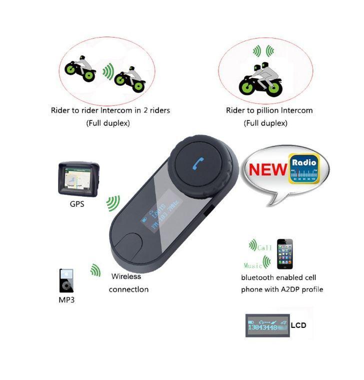 Sistemas de comunicação de capacete, Capacete de motocicleta Interfone de fone de ouvido de Bluetooth para Esqui de Moto, Tela de LCD Rádio FM Handsfree