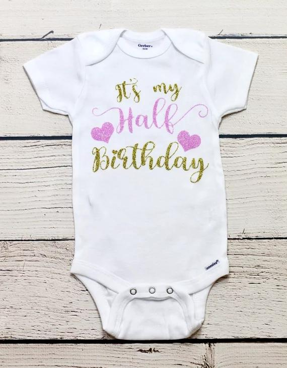 Personalize Half Birthday Kids T Shirts Baby Shower Bodysuit Onepiece Romper Outfit New Year Party Favors Make Your Own Wedding Male