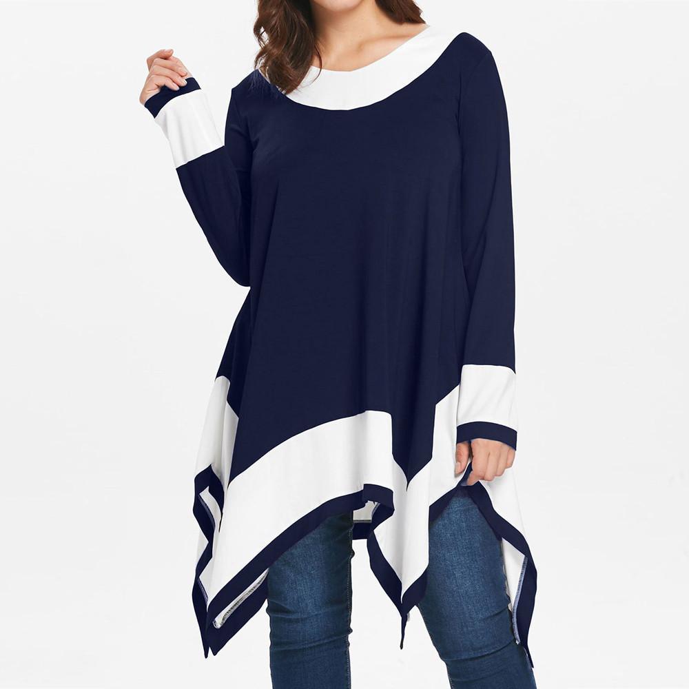 bf38925caa04 Acquista Inverno Donna Striscia Abbigliamento Ragazza Plus Size Manica  Lunga Patchwork Irregolare Orlo Camicetta Pullover Femminile Top Camicia A   21.04 Dal ...