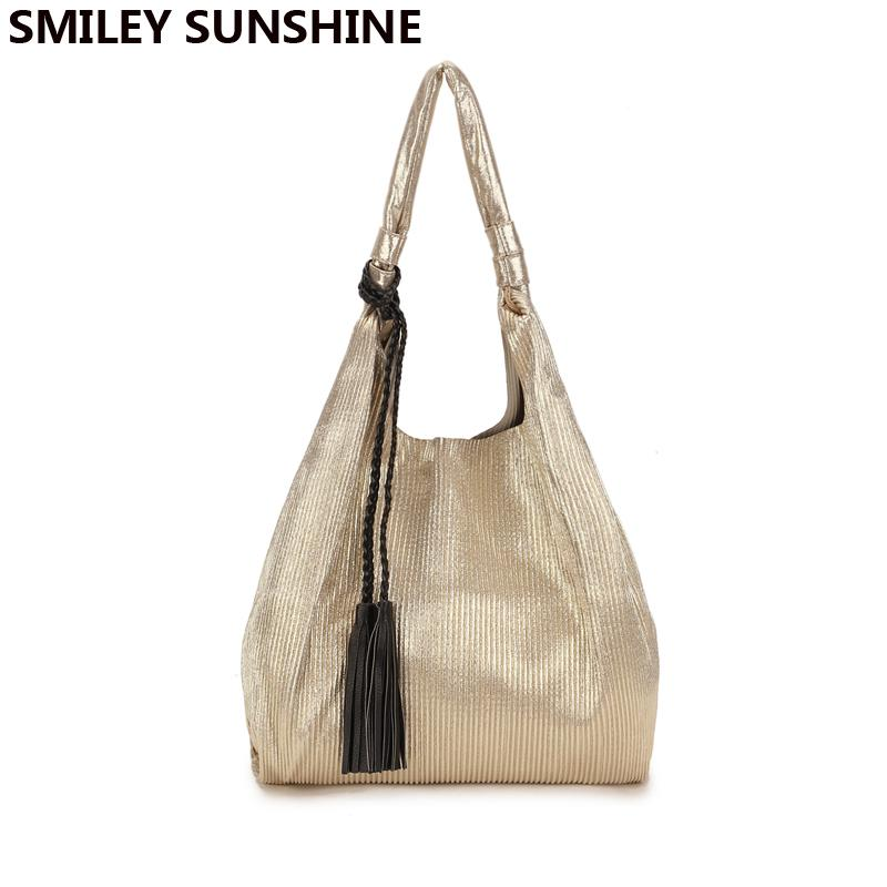 SMILEY SUNSHINE Gold Female Shoulder Bag Tassel Korean Women Handbag Big  Purses And Handbags Ladies Hobo Top Handle Bag Japanese Handbag Wholesale  Hobo ... 9b2aac68efd0