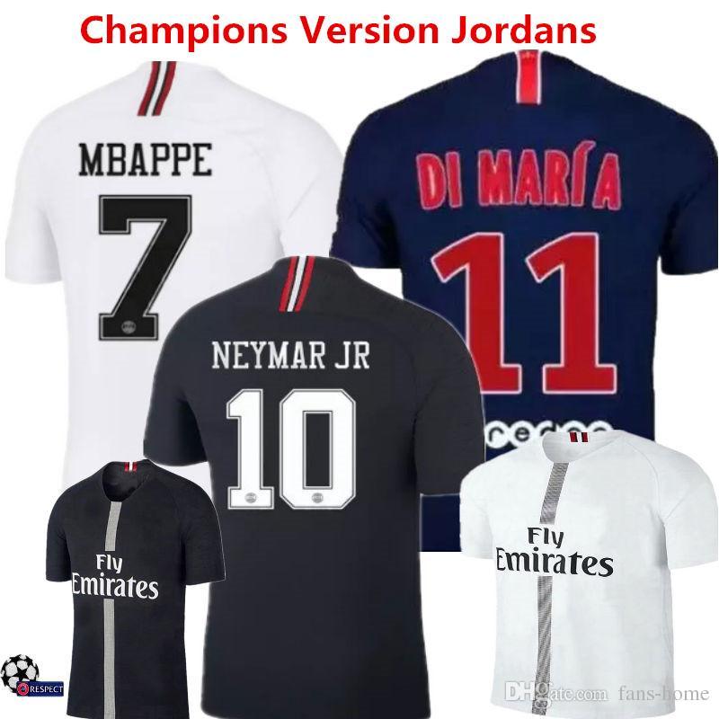 c4fdff9750f05 Jersey De Fútbol Neymar Jr Maillots 18 19 PSG Champions Version Camisetas  De Fútbol Mbappe Cavani Di Maria Saint Germain 3rd Uniform France Retro Por  Fans ...